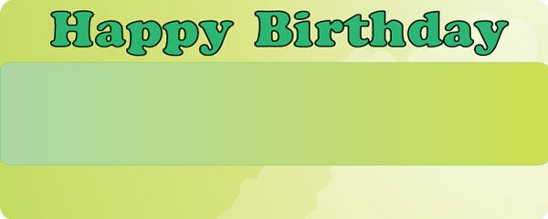Happy Birthday Green Clouds Design Large Personalised Banner - 10ft x 4ft