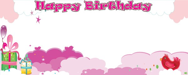 Birthday in the Clouds Pink Design Large Personalised Banner - 10ft x 4ft