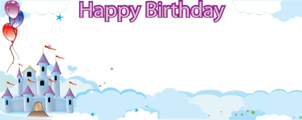 Birthday Castle in the Sky Design Medium Personalised Banner - 6ft x 2.25ft