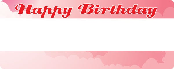 Birthday Girl Pink Clouds Design Medium Personalised Banner - 6ft x 2.25ft