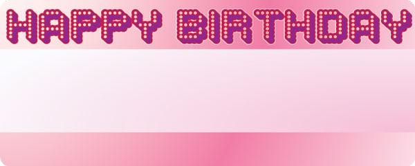 Happy Birthday Glowing Pink Design Medium Personalised Banner - 6ft x 2.25ft