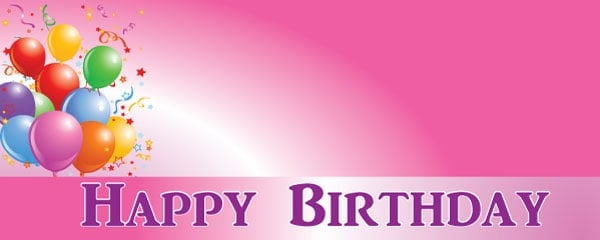 Happy Birthday Faded Pink Celebration Design Small Personalised Banner - 4ft x 2ft
