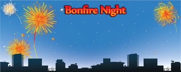 Bonfire Night In The City Design Small Personalised Banner - 4ft x 2ft