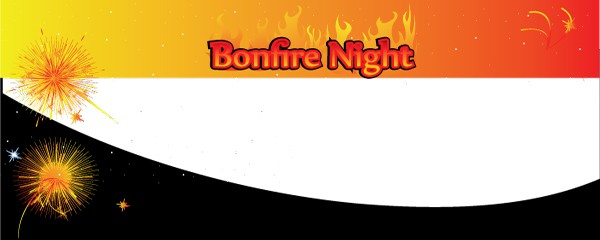 Bonfire Night In Flames Design Small Personalised Banner - 4ft x 2ft
