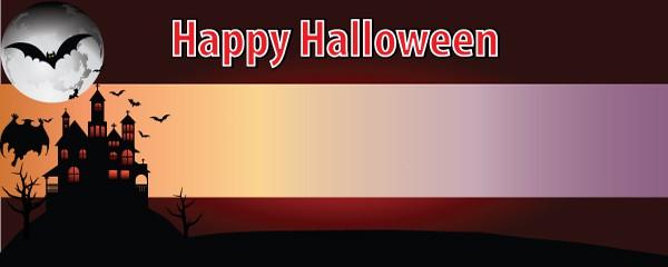 Happy Halloween Haunted House Design Medium Personalised Banner - 6ft x 2.25ft