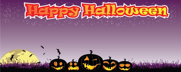 Evil Pumpkin Design Medium Personalised Banner - 6ft x 2.25ft