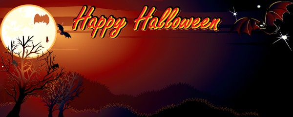 Happy Halloween Haunted Hills & Bats Design Small Personalised Banner - 4ft x 2ft