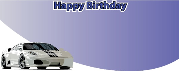 Happy Birthday Supercar Design Small Personalised Banner - 4ft x 2ft