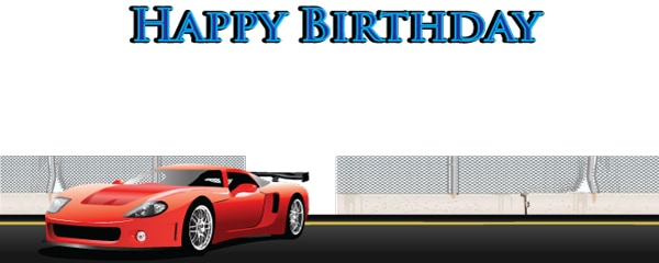 Birthday in the Fast Lane Design Small Personalised Banner - 4ft x 2ft