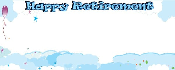Happy Retirement Traditional Design Small Personalised Banner- 4ft x 2ft