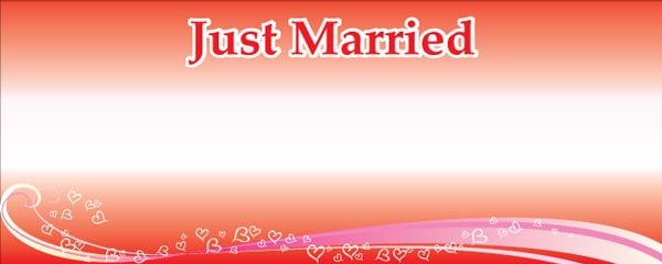 Just Married Floating Hearts Design Small Personalised Banner- 4ft x 2ft