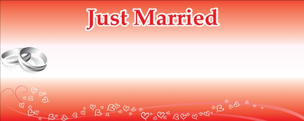 Just Married Silver Rings Design Small Personalised Banner - 4ft x 2ft