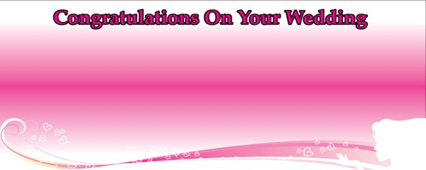 Congratulations on Your Wedding Floating Hearts Design Small Personalised Banner- 4ft x 2ft