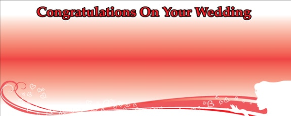 Congratulations on Your Wedding Red Floating Hearts Design Small Personalised Banner- 4ft x 2ft