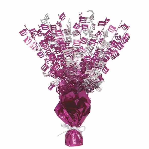 Pink Glitz 100th Birthday Balloon Weight Centrepiece