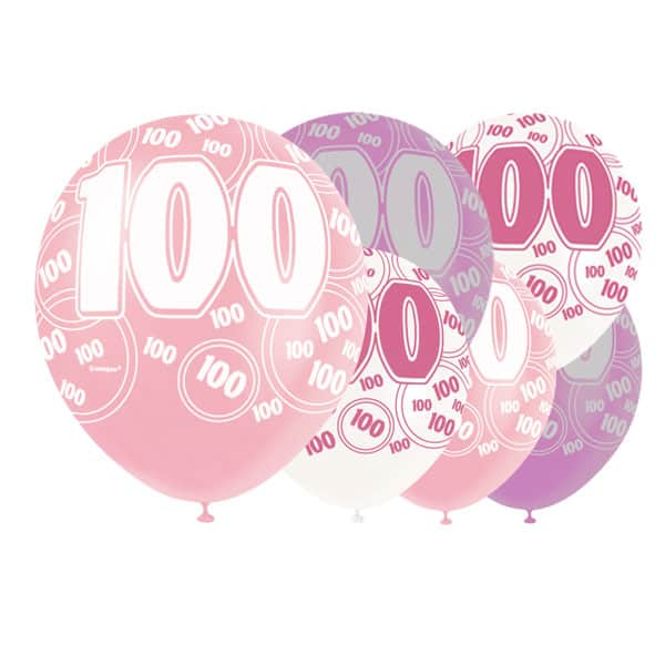 Pink Glitz 100th Birthday Biodegradable Latex Balloons - 12 Inches / 30cm - Pack of 6 - Assorted Colours