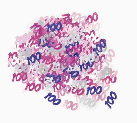 Pink Glitz 100th Birthday Table Confetti - 14 Grams