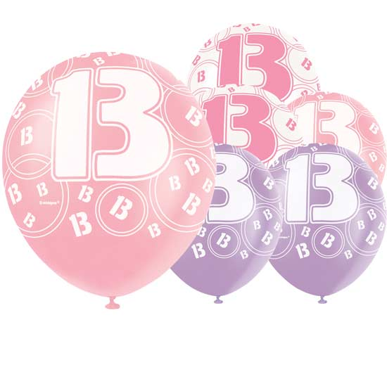 Pink Glitz 13th Birthday Biodegradable Latex Balloons - 12 Inches / 30cm - Pack of 6 - Assorted Colours