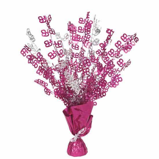 Pink Glitz 65th Birthday Balloon Weight Centrepiece Product Image