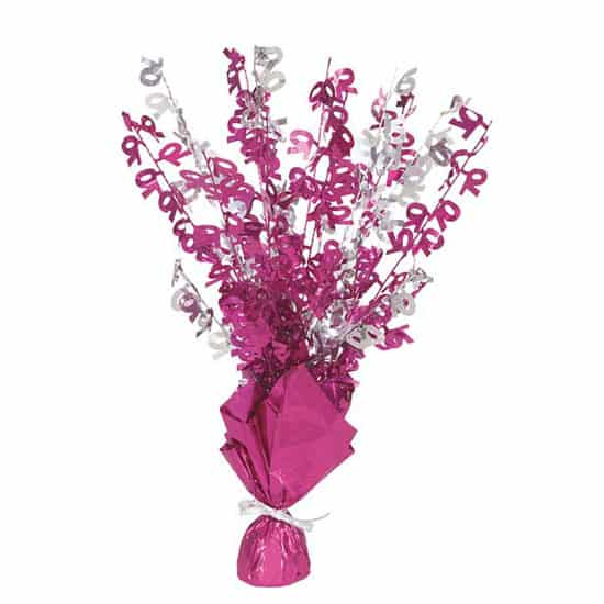 Pink Glitz 70th Birthday Balloon Weight Centrepiece