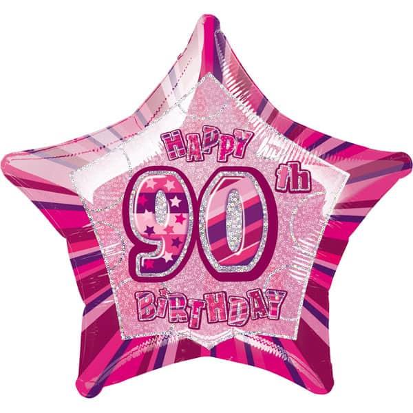 Pink Glitz Age 90 Happy Birthday Prismatic Foil Helium Balloon 51cm / 20Inch Product Image