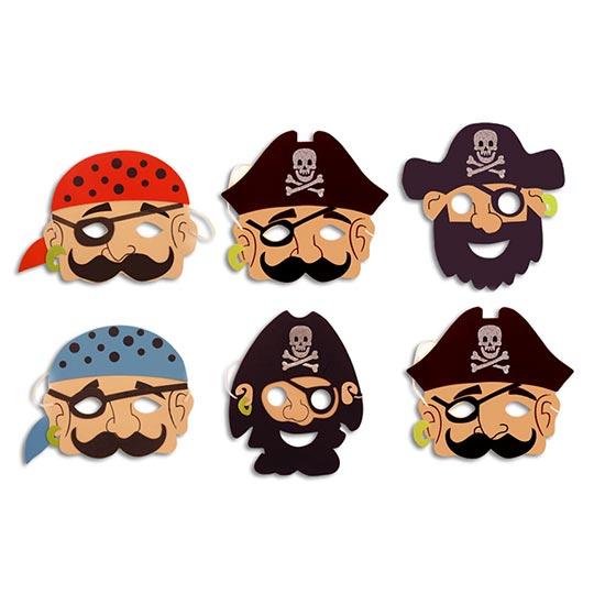 Assorted Pirate Foam Masks - Pack of 6