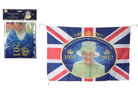 Queen's Diamond Jubilee Commemorative Theme Rayon Flag - 36 x 24 Inches / 92 x 61cm Product Image