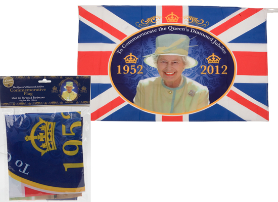Queen's Diamond Jubilee Commemorative Rayon Flag - 52 x 32 Inches / 133 x 80cm Product Image