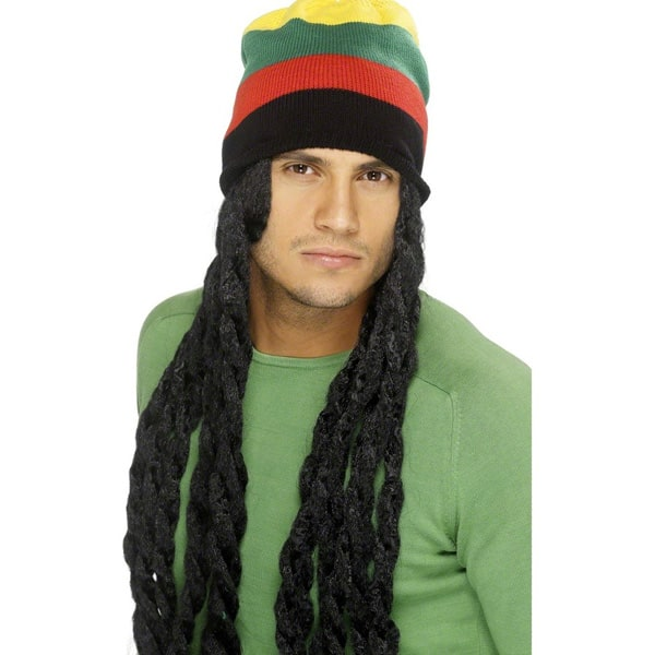 Rasta Hat with Dreadlocks Mens Long Wig Product Image