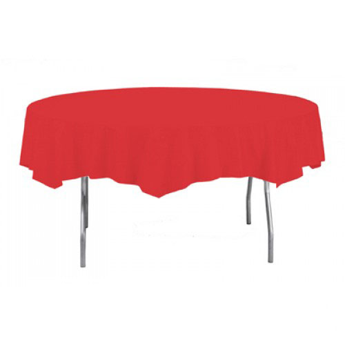 Red Round Plastic Tablecover 213cm