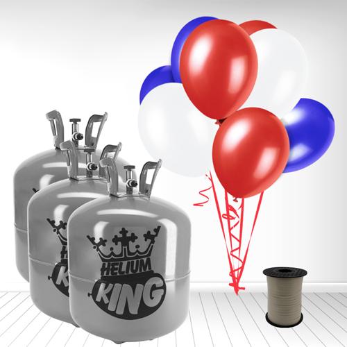 Red White Blue Large Helium Gas Balloons Celebration Kit x 3 Product Image