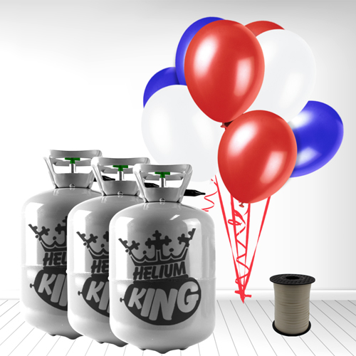 Red White Blue Small Helium Gas Balloons Celebration Kit x 3 Product Image