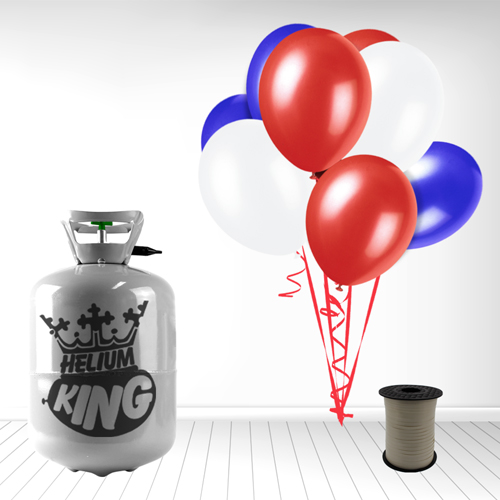 Red White Blue Small Helium Gas Balloons Celebration Kit Product Image