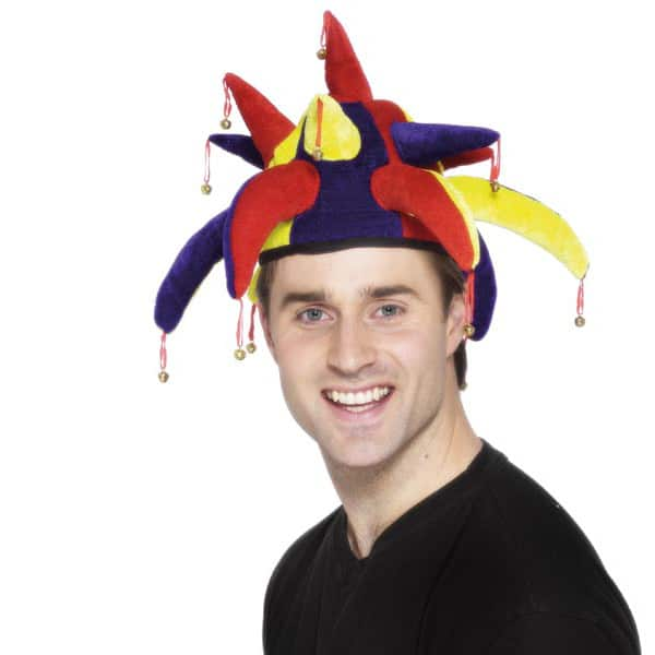 Red, Yellow and Blue Jester Hat with Bells Product Image