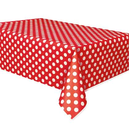 Ruby Red Decorative Dots Plastic Tablecover 274cm x 137cm
