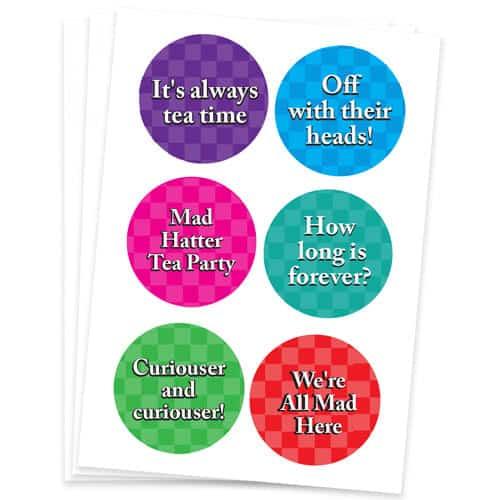 Alice In Wonderland 95mm Round Sticker Sheet of 6 Product Gallery Image