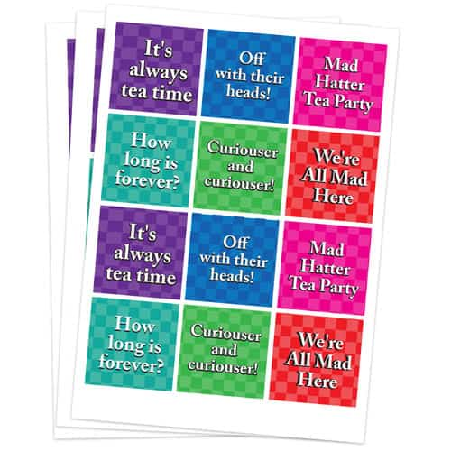 Alice In Wonderland 65mm Square Sticker Sheet of 12 Product Gallery Image