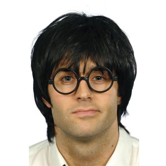 Schoolboy Black Wig & Glasses Mens Short Wig Set Product Image