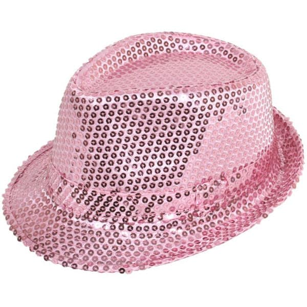 Sequin Baby Pink Gangster Hat