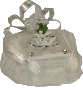 Silver Double Ring Cushion Cake Topper Product Image