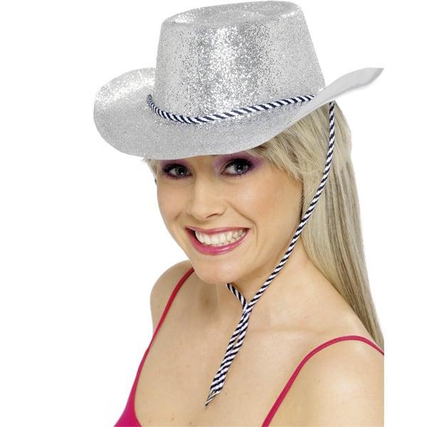 Silver Glitter Cowboy Hat
