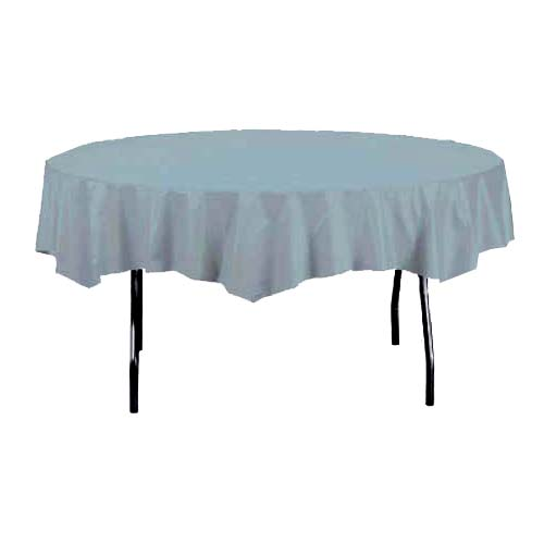 Silver Round Plastic Tablecover 213cm