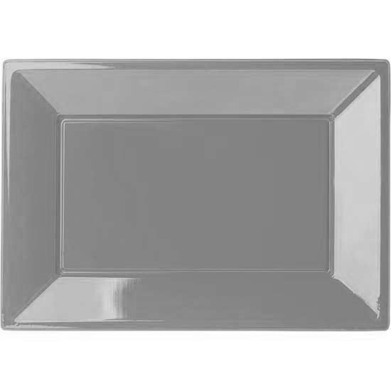 Silver Rectangular Plastic Serving Tray - 9 x 13 Inches / 23 x 33cm - Pack of 3