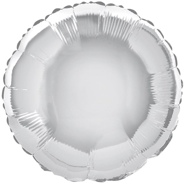 Silver Round Foil Helium Balloon 46cm / 18Inch