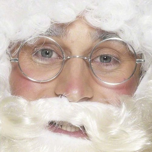 Silver Wire Framed Santa Specs Adults Christmas Fancy Dress Product Image