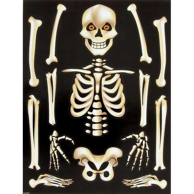 Skeleton Window Cling Sheet