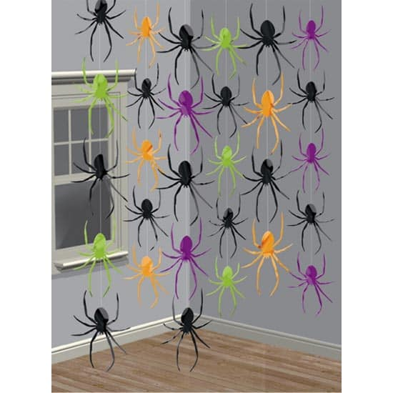Spiders Halloween String Hanging Decorations 213cm - Pack of 6 Product Image