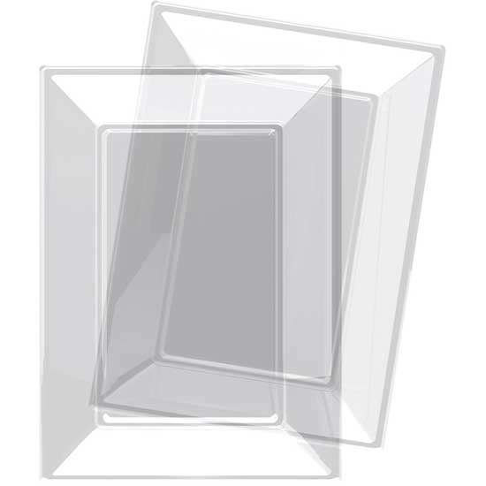 Transparent Rectangular Plastic Serving Tray - 9 x 13 Inches / 23 x 33cm - Pack of 3
