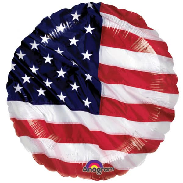 USA Flying Colours Round Foil Helium Balloon 46cm / 18Inch
