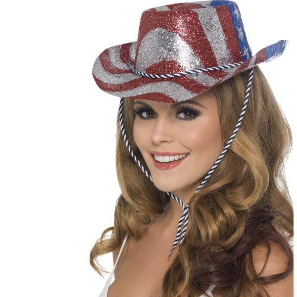 USA Stars and Stripes Glitter Cowboy Hat Product Image